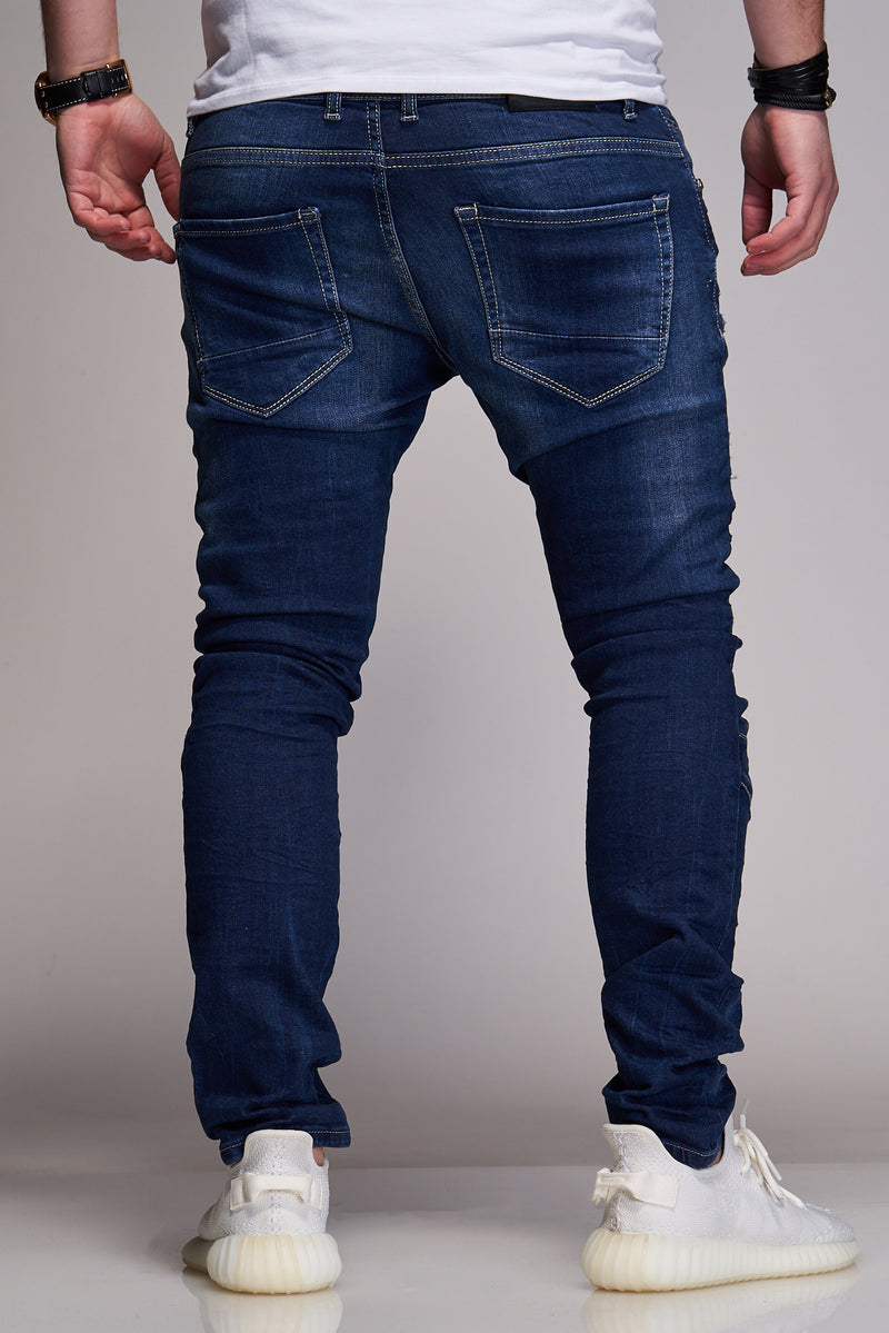 Men's Denim Biker Jeans Blue B2836