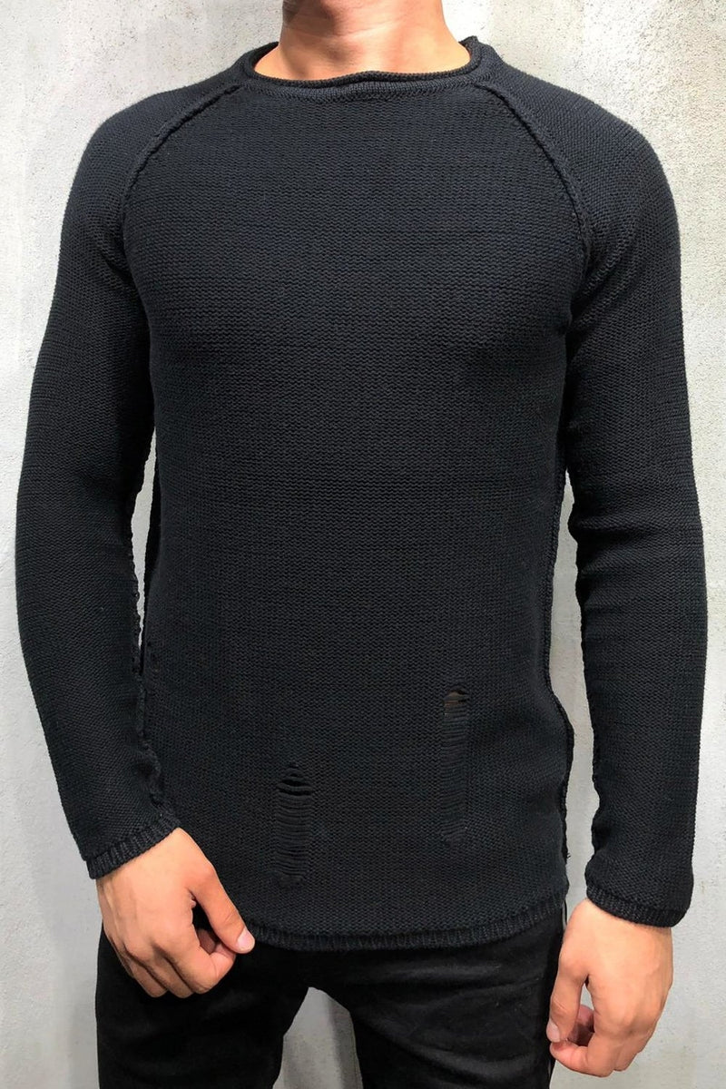 Men's Knit Sweater Pullover Destroyed Black 7026
