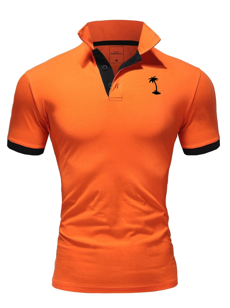 Men's Polo T-Shirt Orange/Navy 337