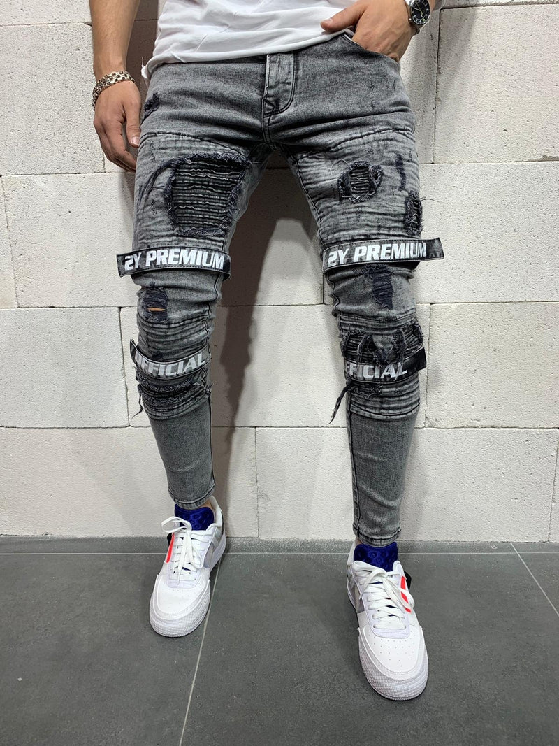 Men's Denim Jeans Destroyed with Patches Grey B4711