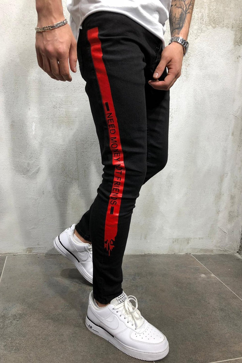 Men's Jeans with Stripes NMNF Black/Red 4051
