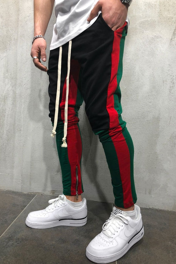 Men's Track Pants Sweatpants in Contrasting Colors Black 5049