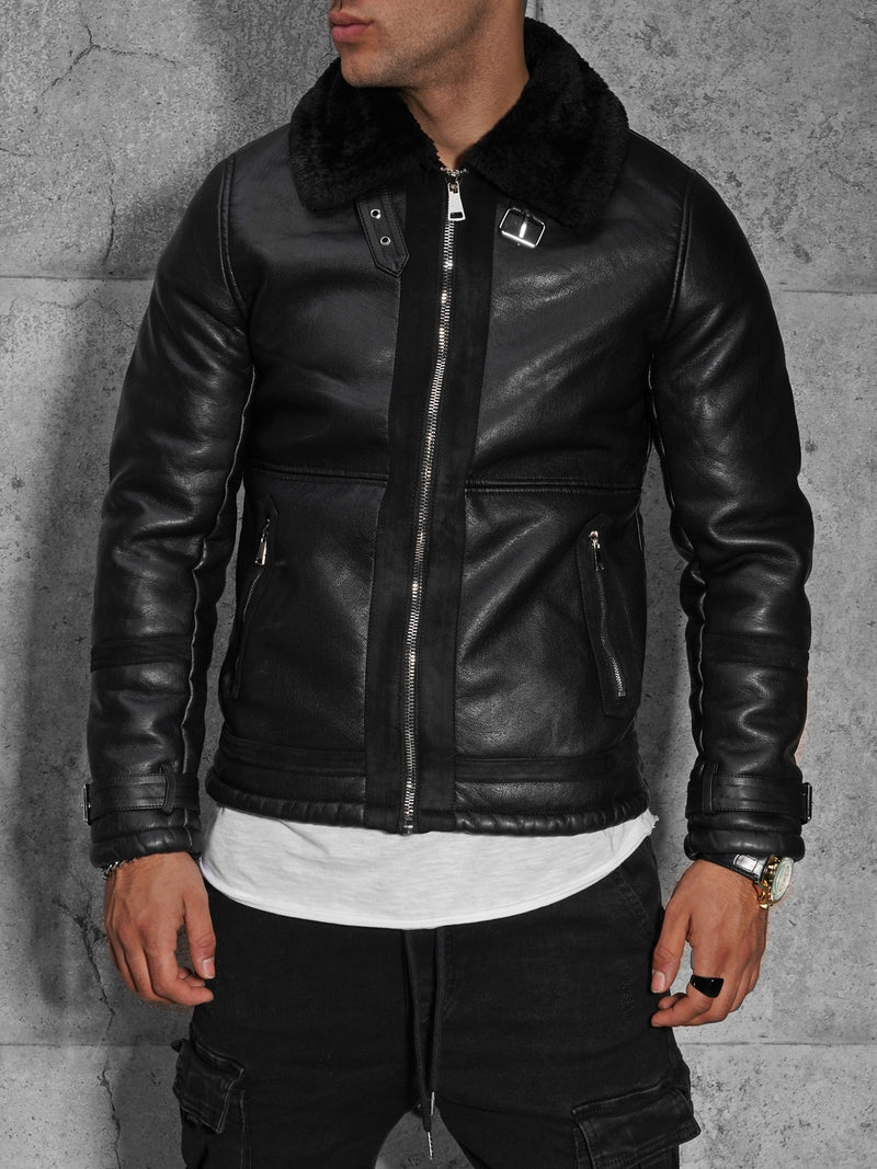 Men's PU Jacket Faux Leather Black QQ565