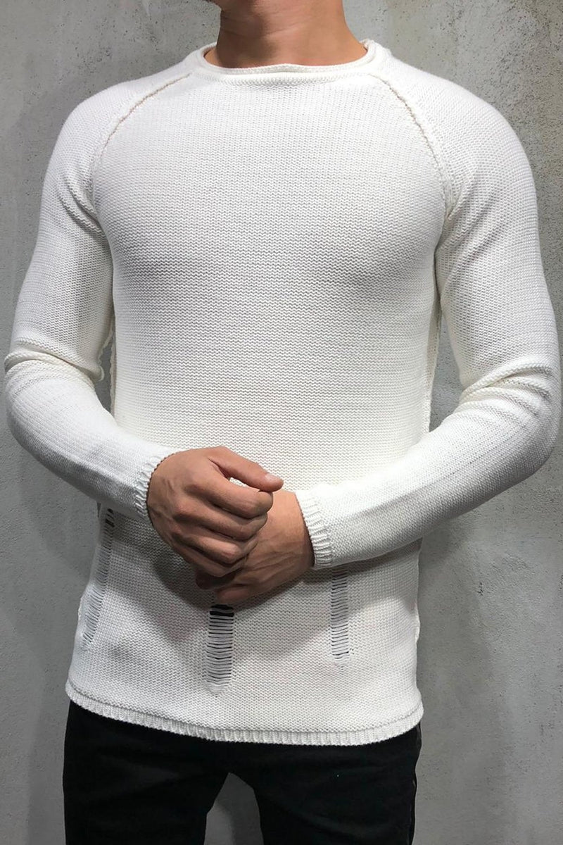 Men's Knit Sweater Pullover Destroyed White 7026
