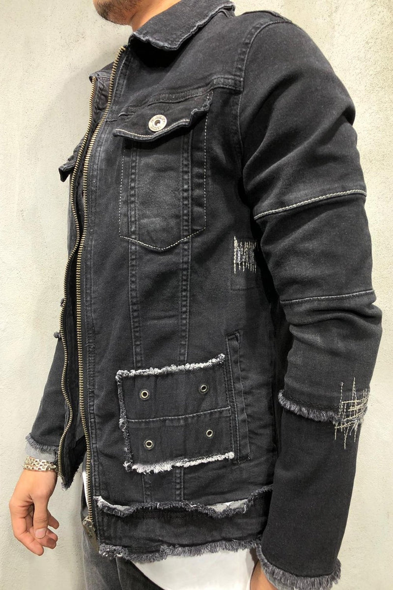 Men's Denim Jacket Piercing Black 4093