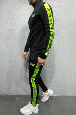 Men's Tracksuit Sweatpants + Sweatshirt Neon Black SW-5106