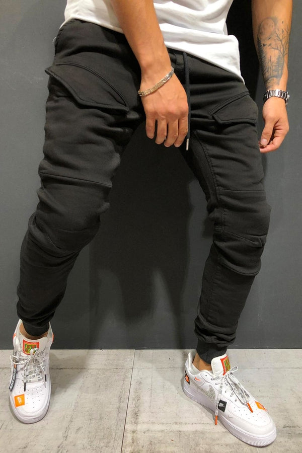 Men's Cargo Jogger Pants Black 4122
