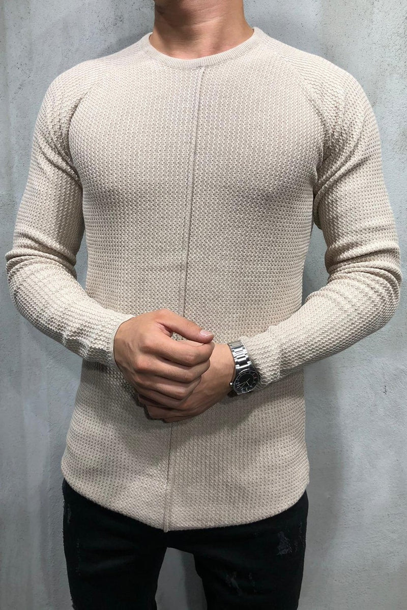 Men's Knit Sweater Pullover Beige 7006