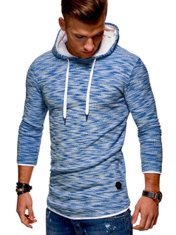 Men's Knit Sweater Hoodie Blue 7424