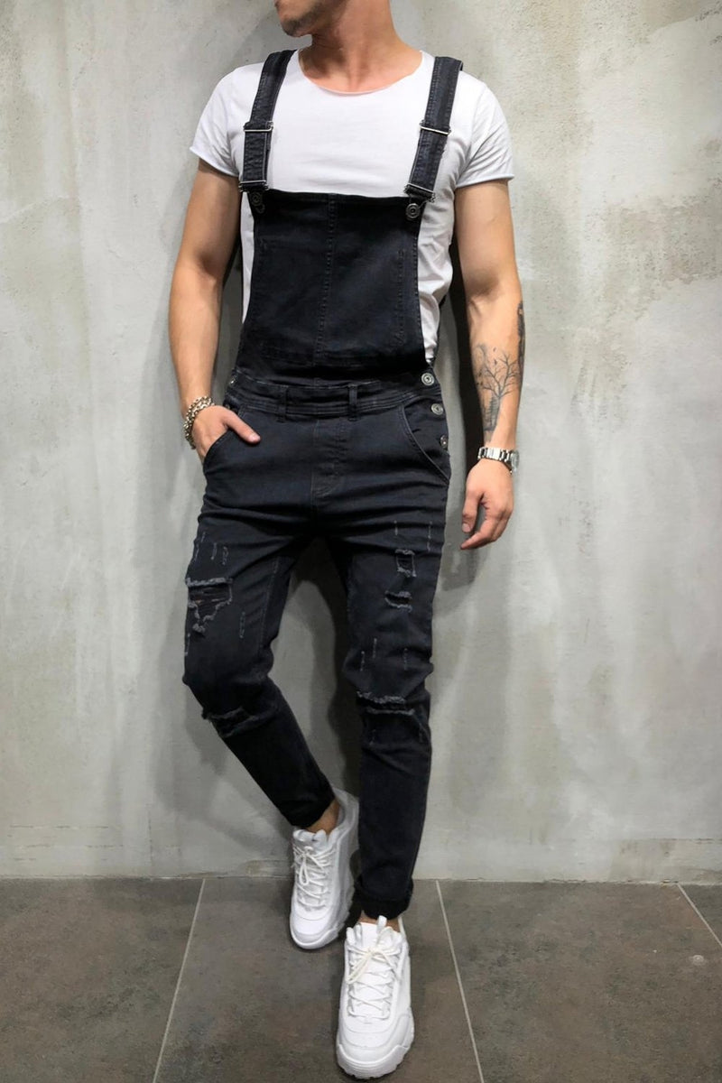 Men's Denim Overalls Black 4152