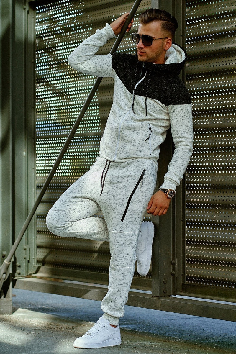 Men's Tracksuit Sweatpants + Sweatshirt White-Black 971