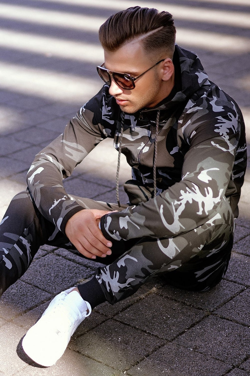 Men's Tracksuit Sweatpants + Sweatshirt Camo-Black 7039