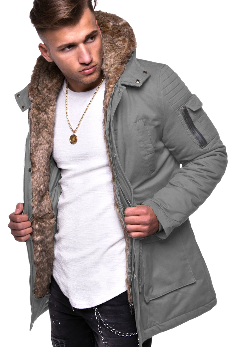 Men's Winter Parka Jacket Grey 7109