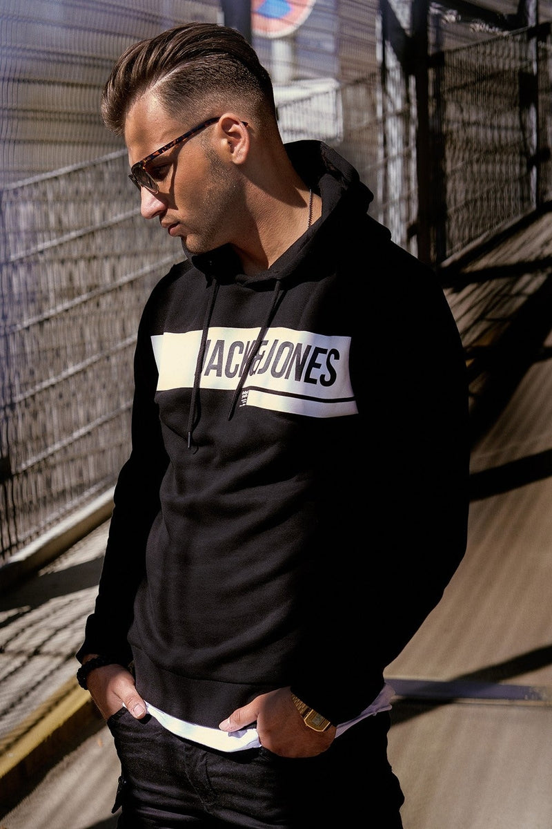 Men's Jack & Jones Hoodie Black ARMANDO