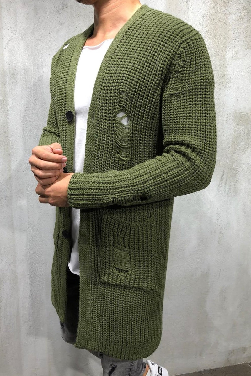 Men's Long Knit Cardigan Sweater Jacket Green 7027
