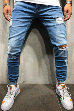 Men's Denim Jeans Destroyed Slim Fit Lightblue 1016