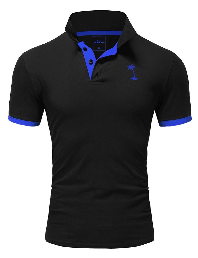 Men's Polo T-Shirt Black/Blue 337