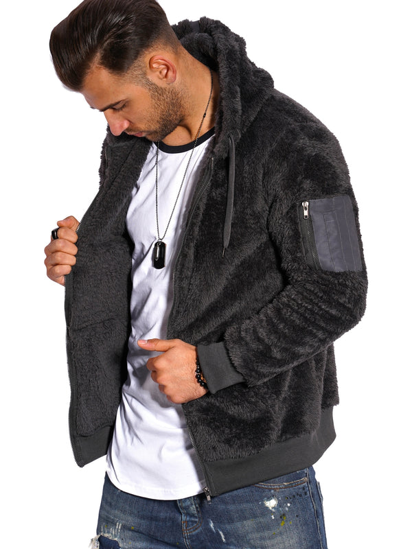 Men's Teddy Fleece Jacket with Hoodie DarkGrey 21043