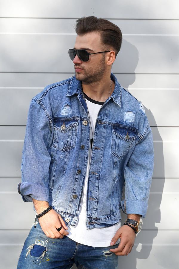 Men's Denim Jacket Destroyed Lightblue M-0087
