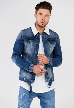 Denim Jacket mit Teddyfell grey C-4222