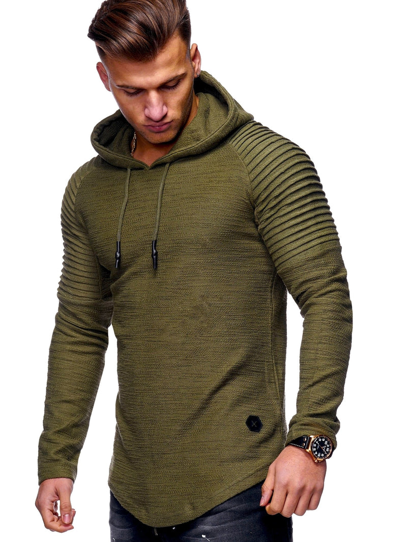 Men's Sweater Jumper Biker Hoodie Green/Military 7421