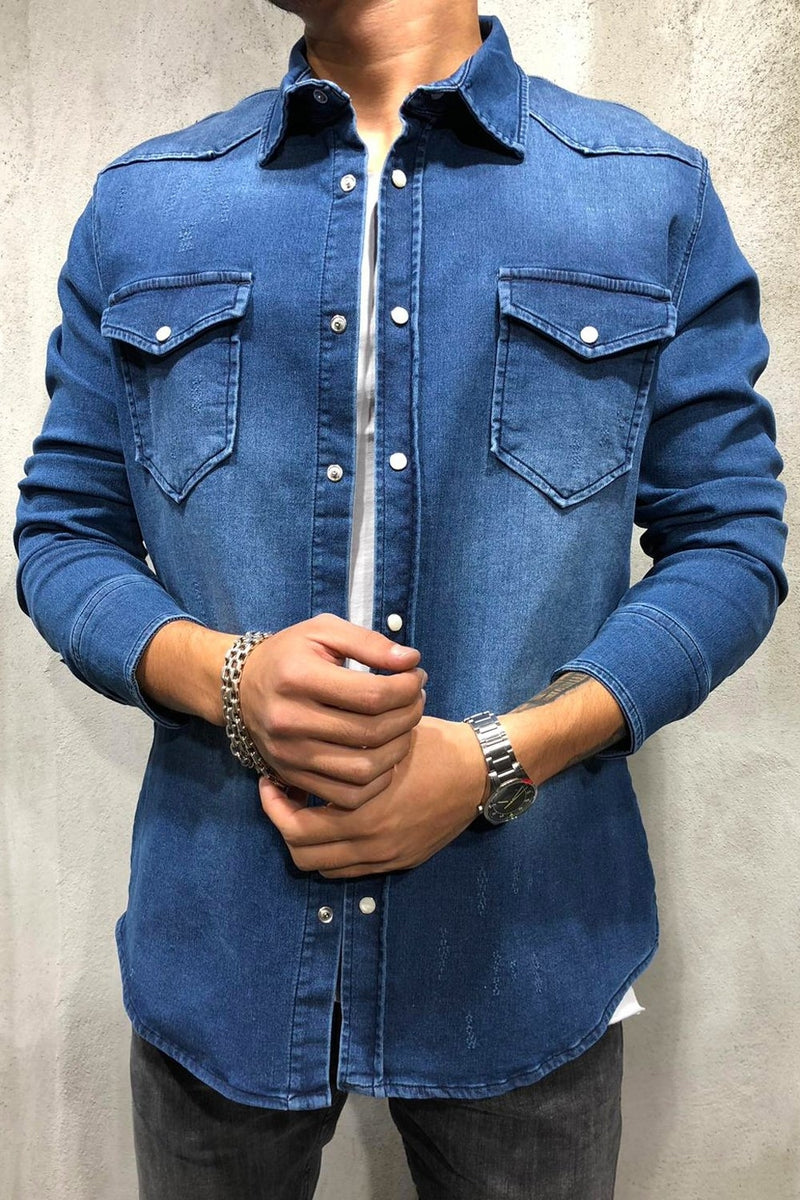 Men's Denim Shirt Oversize Blue 4132