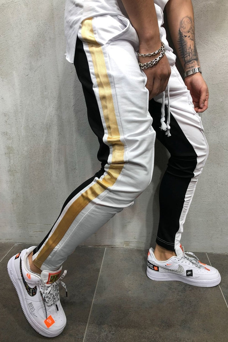 Men's Track Pants Sweatpants in Contrasting Colors White-Black 5061