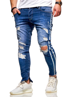 Men's Jeans with STRIPE Skinny Fit Destroyed Blue 4169
