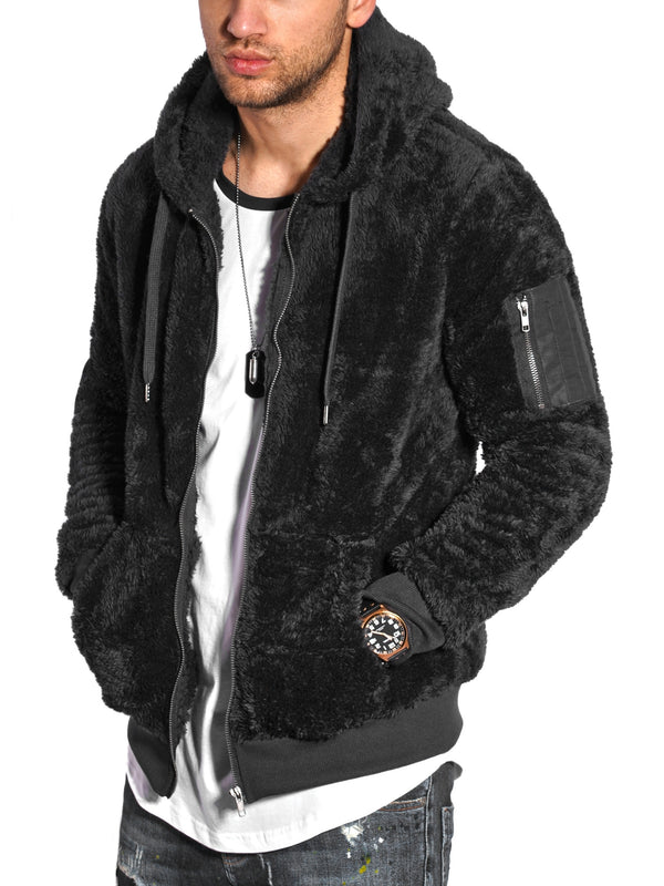 Men's Teddy Fleece Jacket with Hoodie Black 21045