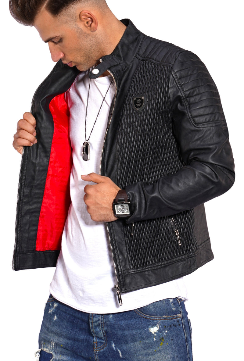 Men's PU Jacket Faux Leather Black PH-26
