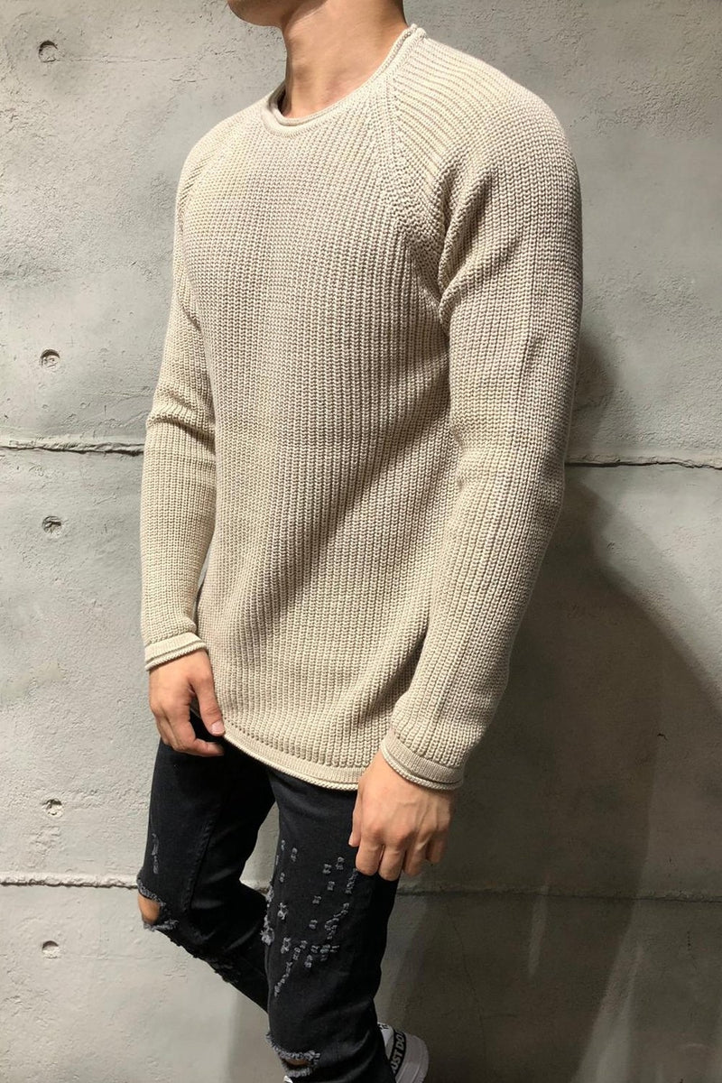 Men's Knit Sweater Pullover Beige 7019