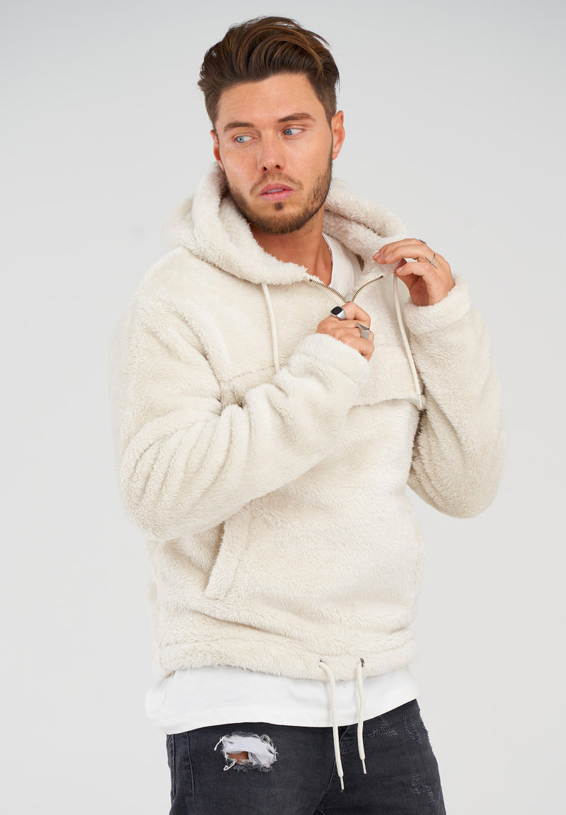 Teddy Fleece 1/4 Zip Hoodie MT-7453 White