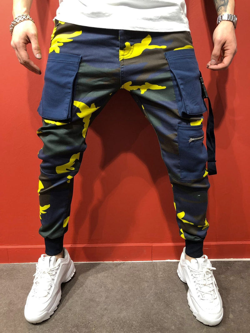 Men's Jogger Cargo Pants Camo-Yellow B4704