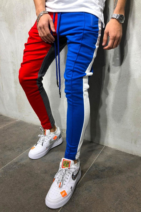 Men's Track Pants Sweatpants in Contrasting Colors Blue/Red 5066