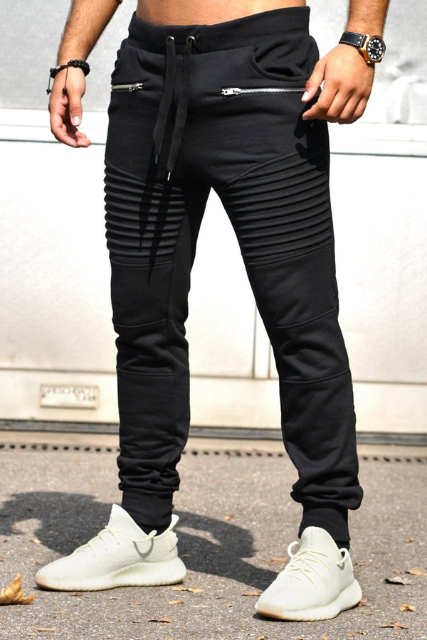 Men's Biker Track Pants Sweatpants Black 2092