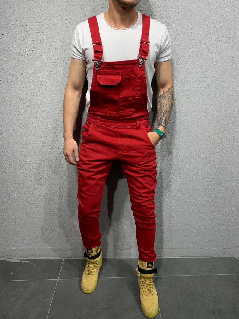 Men's Denim Overalls Red ES001