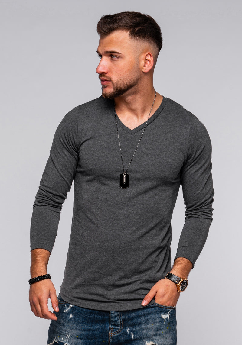 Jack & Jones Longsleeve V-Neck Tshirt INFINITY Dark Gray