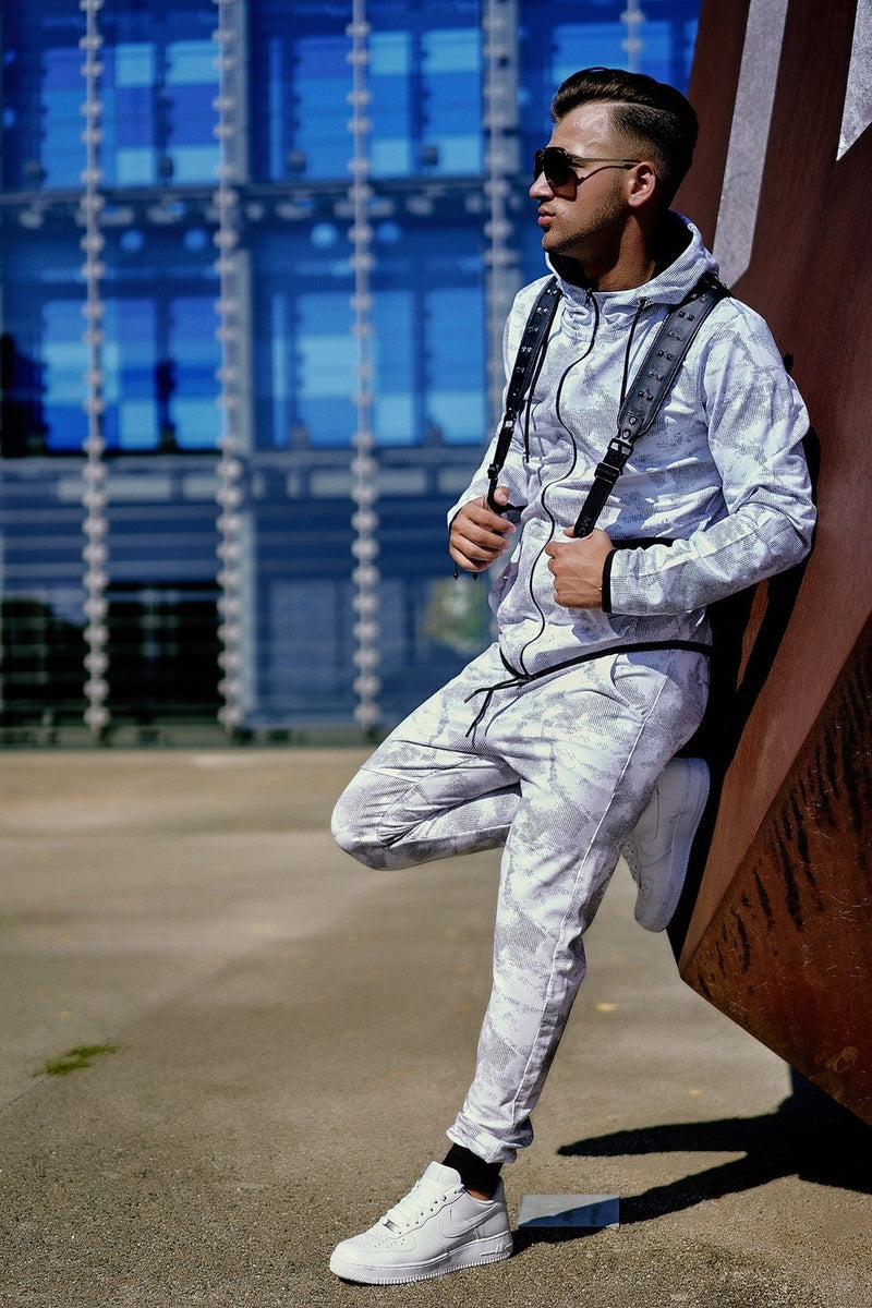 Men's Tracksuit Sweatpants + Sweatshirt ZIP White 739