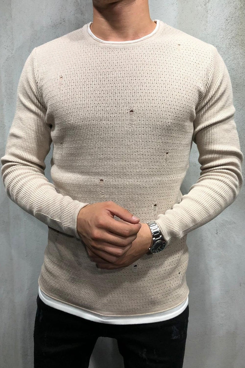 Men's Knit Sweater Pullover Destroyed Beige 7001