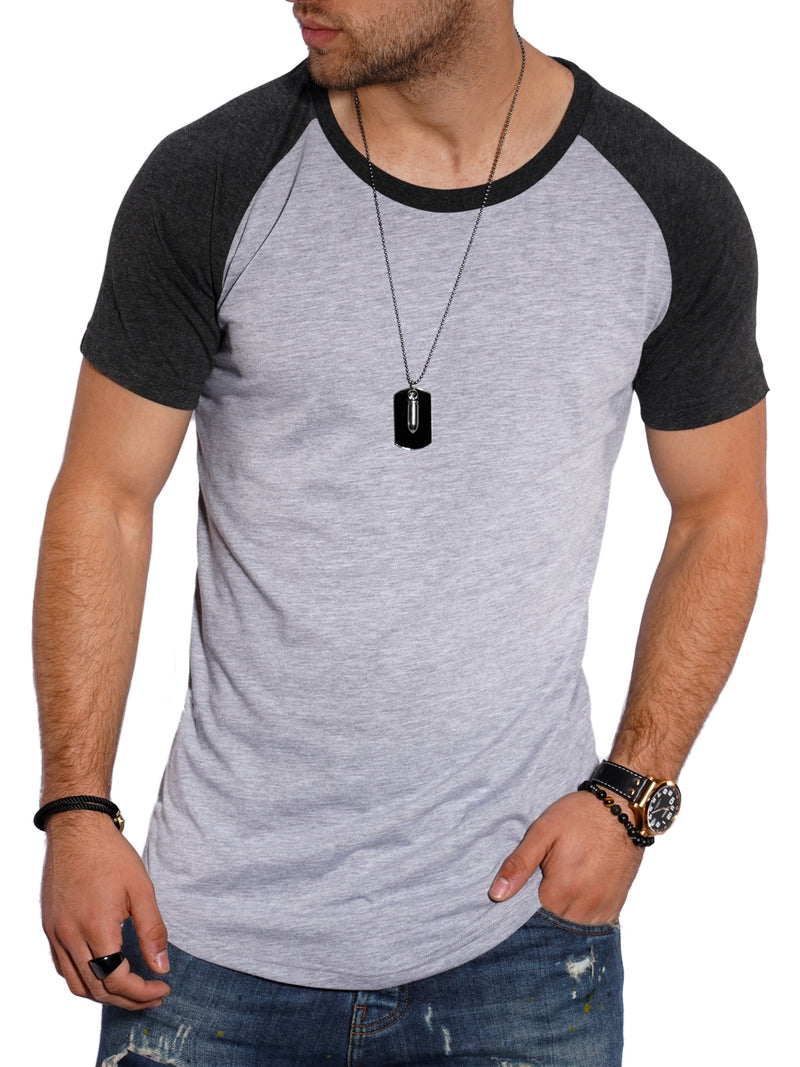 Men's Oversize T-Shirt Muscle Tee Raglan Grey/Black MT-7140