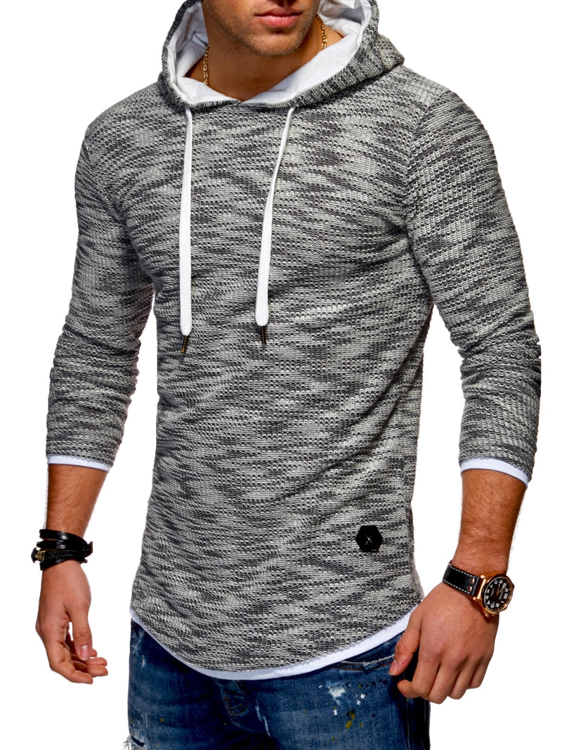 Men's Knit Sweater Hoodie Black 7424