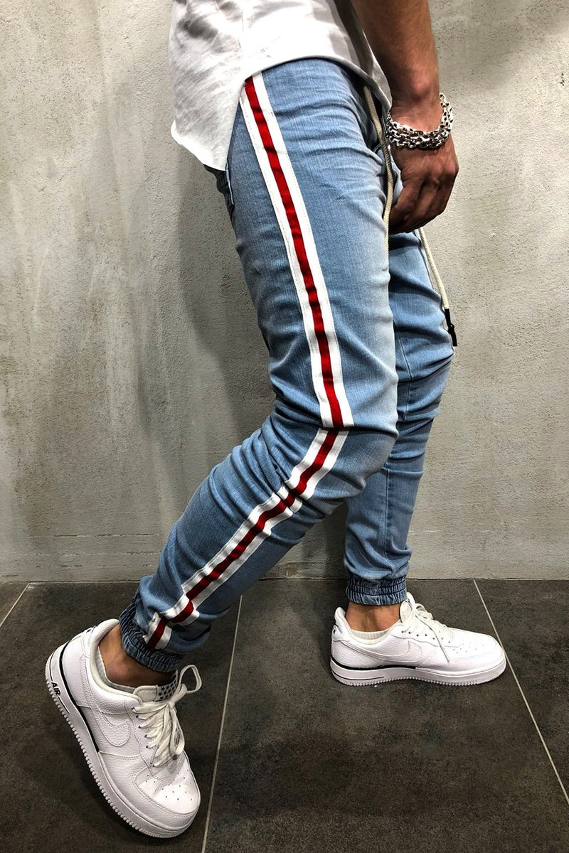 Men's Joggers with STRIPE Skinny Fit Lightblue 4018