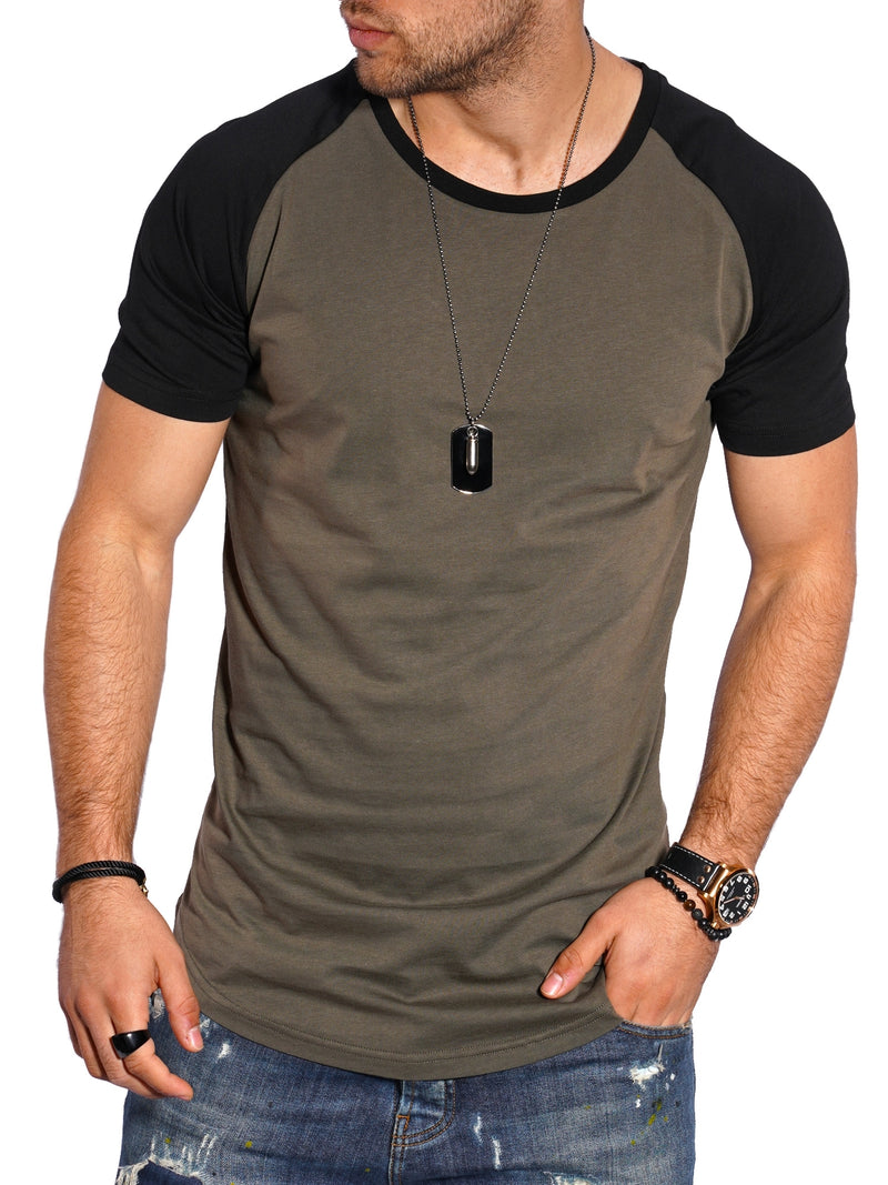 Men's Oversize T-Shirt Muscle Tee Raglan Green/Black MT-7140