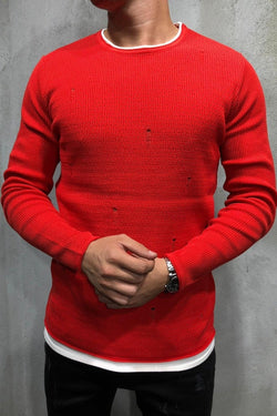 Men's Knit Sweater Pullover Destroyed Red 7001