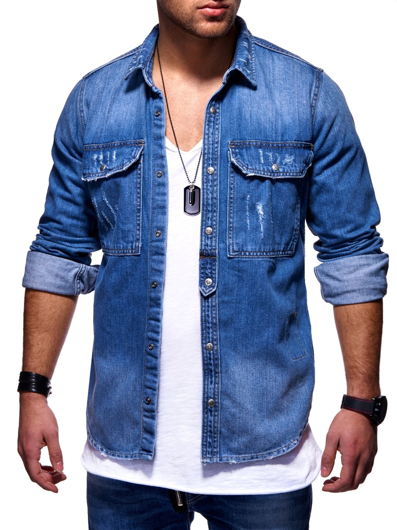 Men's Denim Jacket Destroyed Blue 3719