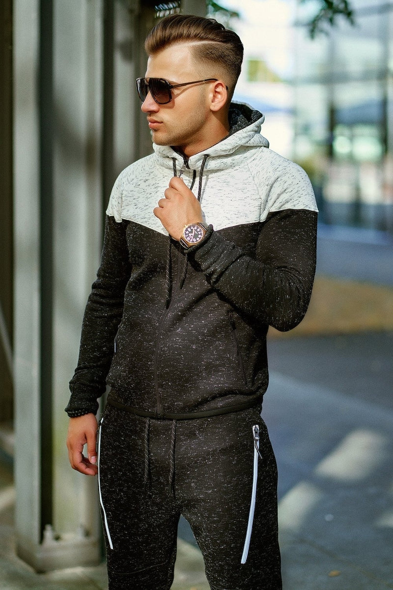 Men's Tracksuit Sweatpants + Sweatshirt Black-White 971