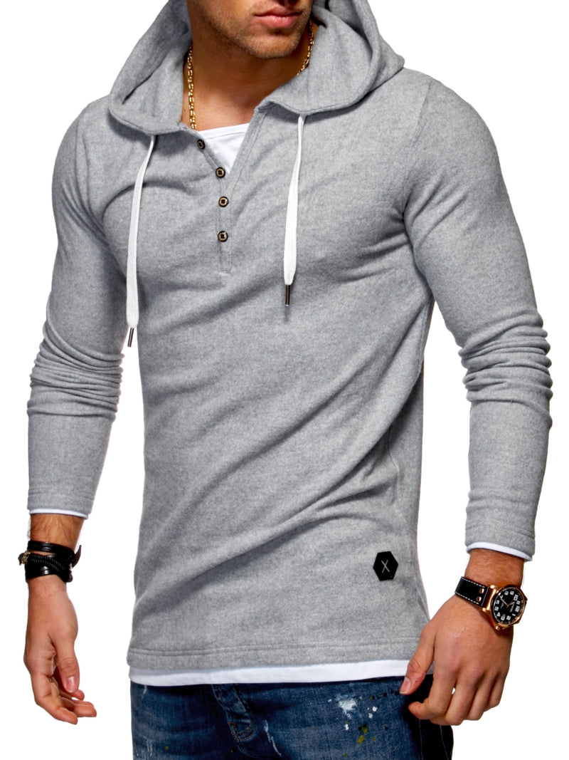 Men's 2in1 Henley Hoodie Grey 7437