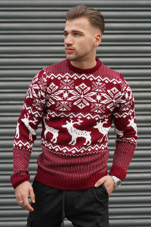 Men's Knit Sweater Burgundy RS-1048