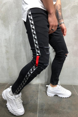 Men's Jeans with STRIPE Skinny Fit Destroyed Black 4008