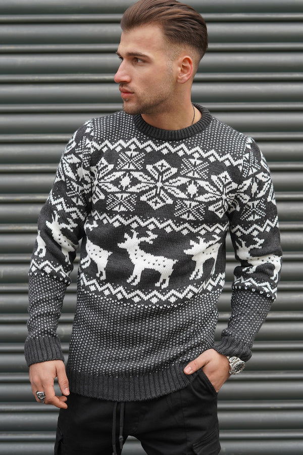 Men's Knit Sweater Darkgrey RS-1048